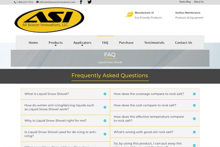 All Season Innovations 3 FAQ page