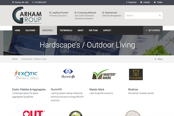 Garham Group 3 Products page