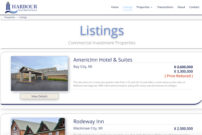 HarbourHotels 3 Listings page