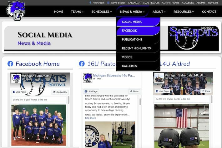 MISabercats 3 Social Media page