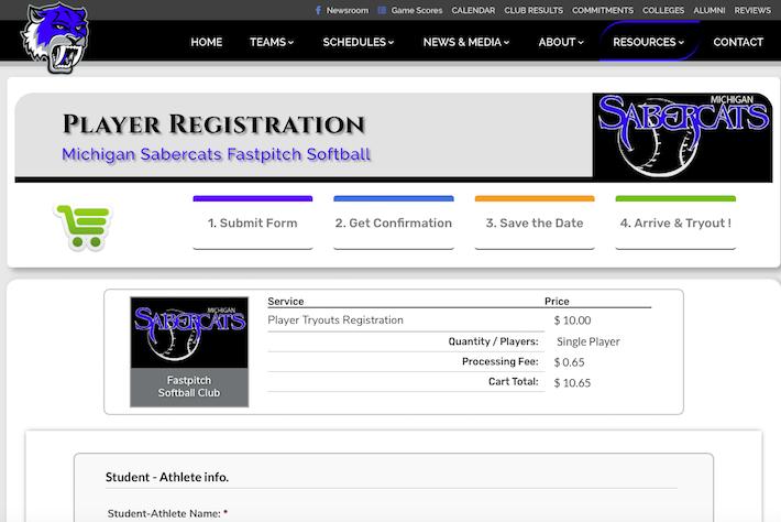 MISabercats 4 Registration page