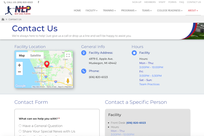 NextLevelPlayers 3 Contact page