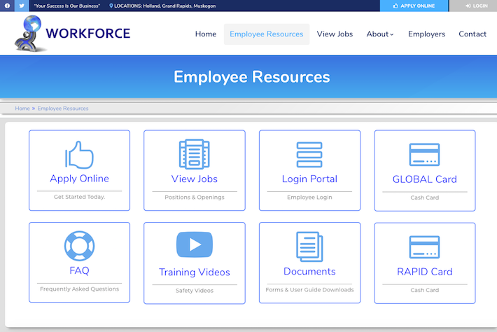 WORKFORCE Group 2 Employee Resources page